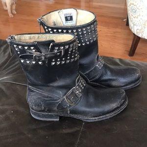 Black studded Frye boots
